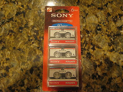 Sony Microcassette 90 minute 6 Pack Recordable Mini Cassette Tapes NIP!