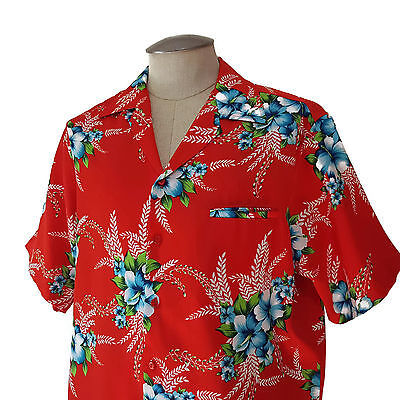 Vintage 70s Hilo Hattie Hawaiian Shirt XL Red Floral Polyester Silky Aloha Camp