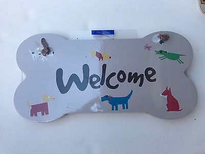 Little Gifts Welcome Dog Puppy Welcome Wall Plaque Sign NIP Bone Shaped Gift