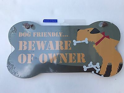 Little Gifts Dog Puppy Beware Of Owner Wall Plaque Sign NIP Bone Shaped Gift