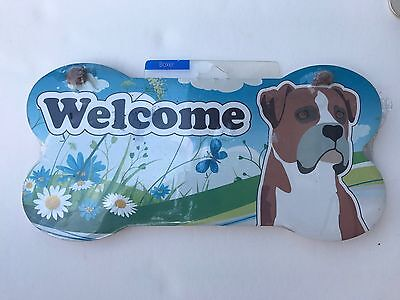 Little Gifts Dog Puppy Boxer Welcome Wall Plaque Sign NIP Bone Shaped Gift