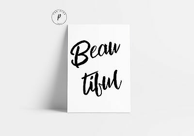 Beautiful Quote Bedroom Home Art Print Black & White Typography Decor A3 Poster