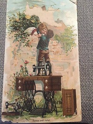 Victorian Trade Card Singer Sewing Machine Romeo And Juliet New York