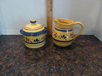 Home & Garden Party Stoneware Welcome Home pattern/ Sugar and Creamer Set
