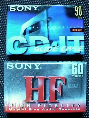 Sony 2 Cassette Audio Tapes CD-IT 90 min High Bias & HF60 min Normal Bias SEALED