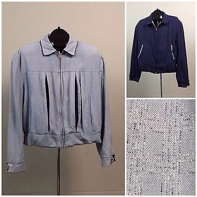 Vintage 50s Blue Gabardine Reversible Ricky Zip Up Jacket Atomic Print Flecked M