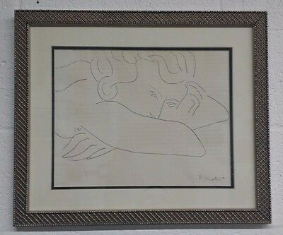 Henri Matisse 1940S Original Pencil Abstract Portrait Drawing, Signed