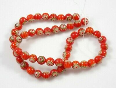 """Red Round Millefiori 16"""" Bead Strand - 8mm & 6mm Available!"""