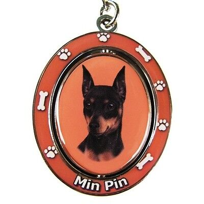 Miniature Pinscher Min Pin Dog Spinning Key Chain Fob