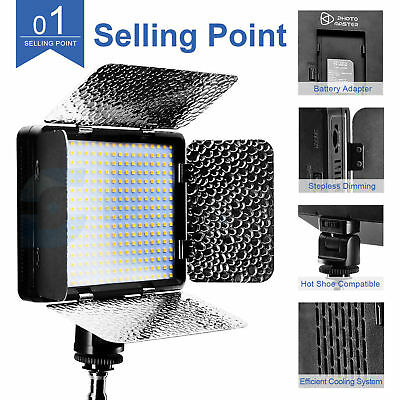 320pcs Pro LED Camera Video Light For Sony Canon Nikon Panasonic DSLR AU