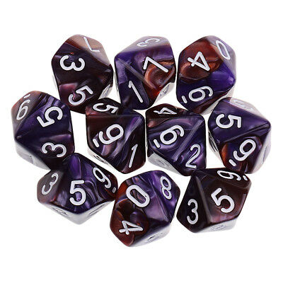 10pcs 10 Sided Dice D10Polyhedral Dice for Dungeons and Dragons Table Games