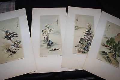 "Vintage Set of (4) SEASONS Lithos by ""Ling-Fu"" Yang 1950s Art Work Signed ?"