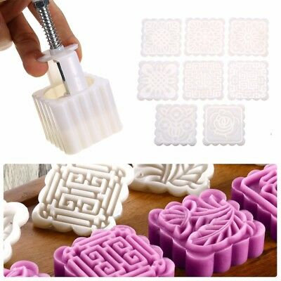 75g Square DIY Baking Mooncake Mold Pastry Biscuit Cake Mould Fower w/8 Stamps