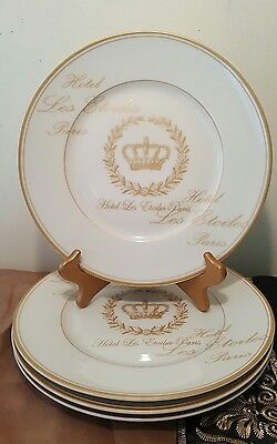 222 Fifth Les  Etoiles Crown Gold Dinner Plates Gold Trim Crown Fina China PTS