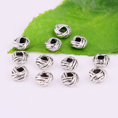 50pcs Tibetan Silver Round Metal Charm Spacer Beads Jewelry Making Findings 6mm