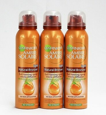 3 X 130.5g/150mL Garnier Ambre Solaire Natural Bronzer Self-Tanning Spray Light