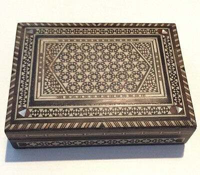 Vintage Orient-Syrian Handmade Mosaic Inlay Wood Jewelry box