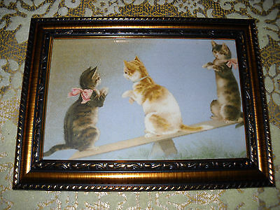 3 CATS ON SEE-SAW 4 X 6 gold framed picture Victorian style animal art print