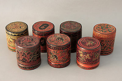 Wholesale 7 Old Burmese Cinnabar Lacquer Betel Nut Leaf Box Container