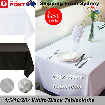 1/5/10/20Pcs White/Black Tablecloth Wedding Table Cloth Rectangle Party Banquet
