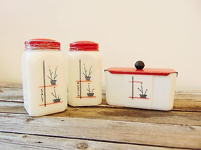 Vintage McKee Range Set of 3 Salt Pepper Shakers Grease Jar Stick Pots Design