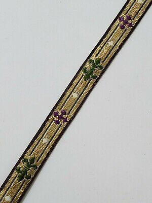 "Vintage French Cross Design Gold Thread 1/2"" Trimming for Vestment 5 Yards Lot"