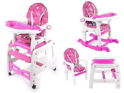 High Chair Feeding Chair Baby Adjustable 3in1 Pink KP0221PIN