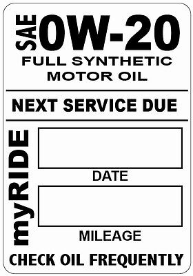 "16x myRIDE FULL SYNTHETIC MOTOR OIL CHANGE STATIC CLING STICKERS 1.875"" x 2.5"""