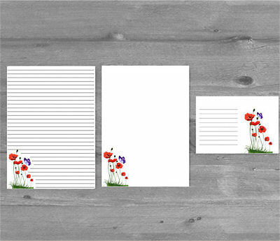 Poppies & Butterfly Letter Writing Paper and Envelopes Stationary Set,  Gift Set