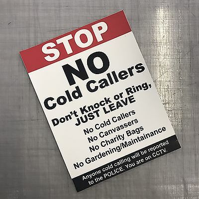 Large Stop No Cold Calling Sticker No Canvassers, Callers, Maintenance, Groups