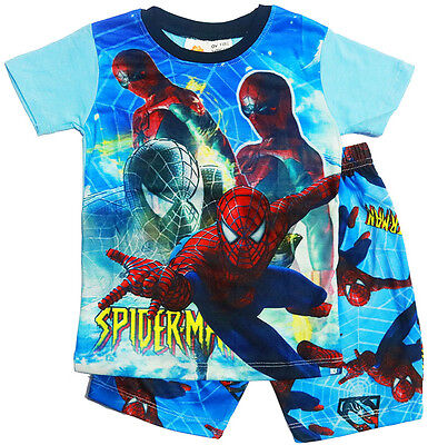 New Size 2-7 Kids Pyjamas Summer Boys Spiderman Top Tshirt Tee Sleepwear Nightie