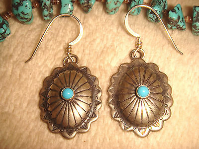 """VINTAGE NAVAJO 2"""" STERLING SILVER & TURQUOISE 'CONCHO' DANGLE EARRINGS signed F"""