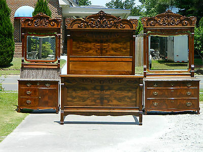 Spectacular Walnut Victorian Eastlake Bedroom Set~BED(FULL)~DRESSER~WASHSTAND