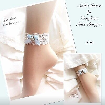 Bridal Ankle Garter Ivory Lace Blue Bow Love from Miss Darcy Wedding Brides Hen