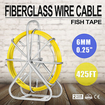 6MM x 425' FISH TAPE FIBERGLASS WIRE CABLE ELECTRICAL PULLER KIT RODDER HOT