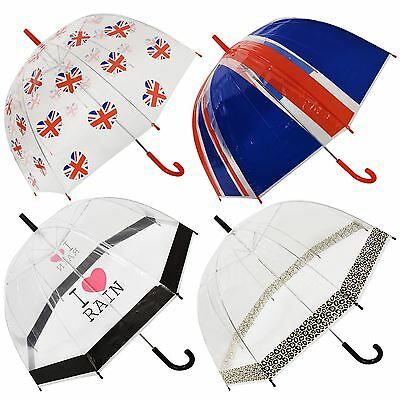 Large Dome Umbrella Ladies Clear See Through Transparent Walking Rain Brolly