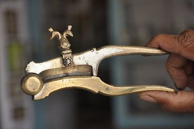 1930's Old Brass Twin Peacock Crafted Unique Handcrafted Betel Nut Cutter