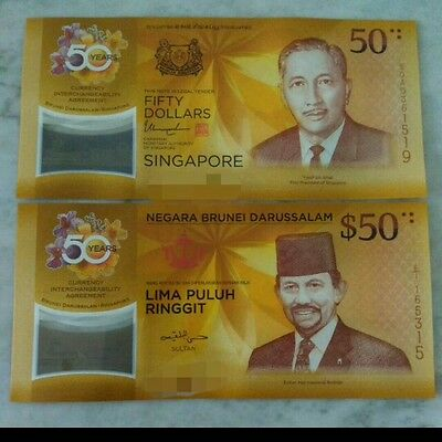 2017 Singapore and Brunei $50 CIA 50 year Commemorative - 2 notes and a folder
