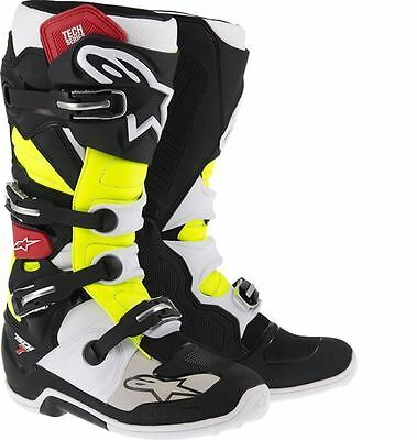 Alpinestars Tech 7 Boots Black Red Yellow Mx All Sizes