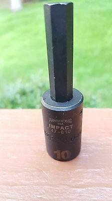 """10mm Armstrong Brothers 47-810 Metric Impact Hex Allen Socket Driver 1/2"""" Dr USA"""