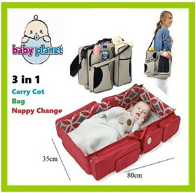 Baby Carry Cot RED Bag Nappy Change Bassinet Travel Sleep Bath Infant FREE COVER