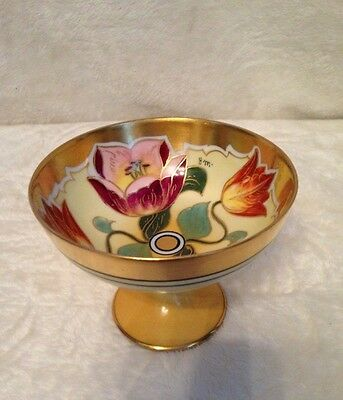 Antique Floral Hand Painted Porcelain Compote Footed Dish, Pink Gold, SIGNED