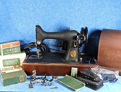 1941 Singer 99 Sewing Machine, Bentwood Case, Attachments-Crinkle Finish, Works