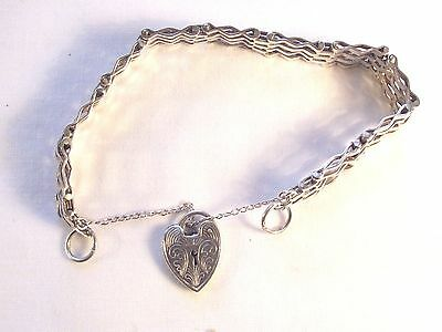 Vintage Sterling Silver Gate Bracelet With Patterned Heart
