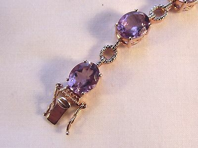 Stunning Sterling Silver Gilt Over 20Ct Amethyst Bracelet