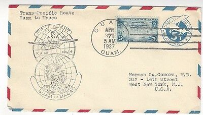 1937 Guam to Macao, First Flight, Airmail #C20, #UC1