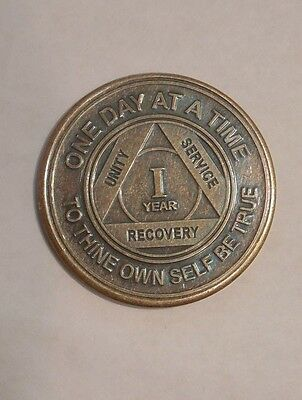 New Aa 1 Year Bronze Coin Chip Medallion Alcoholics Anonymous