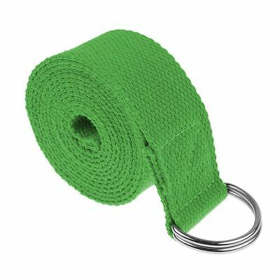 Yoga Straps Entry Level Beginners Durable Cotton Stretching Holding Poses Green