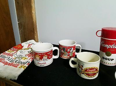 Lot of 7 Vintage Campbell's Soup Collectibles Thermos, Mugs, Bowls