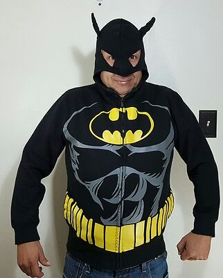 BATMAN Zip up Hoodie Mask Sweatshirt Jacket Costume~Kids Unisex XL Mens S